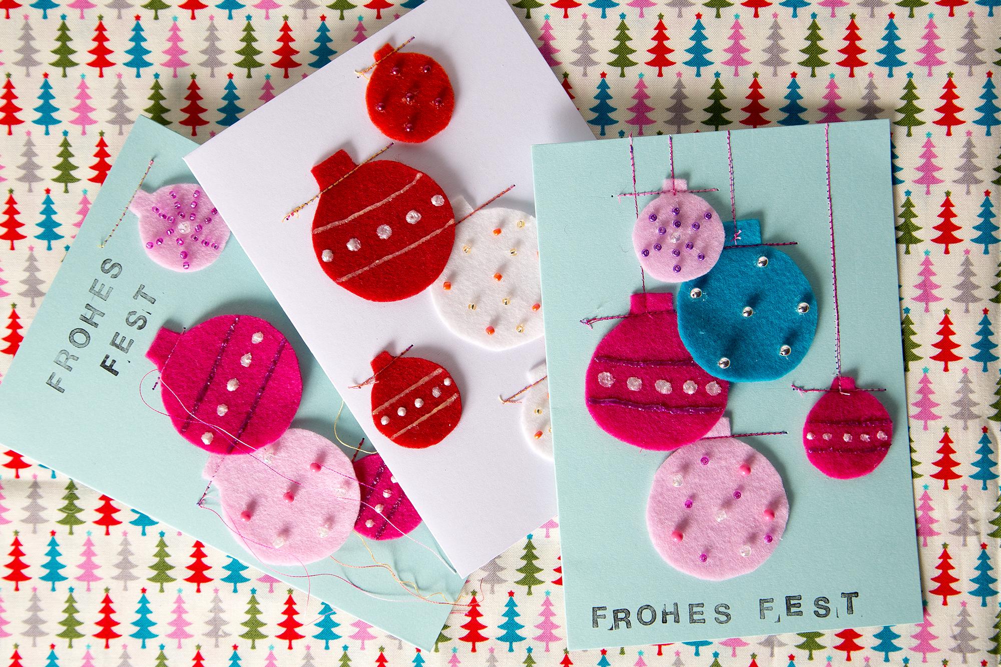 Kostenlose anleitung filzkugel weihnachtskarten n hen for Anleitung weihnachtskarten